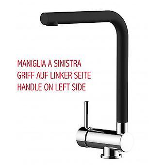 Einhebel-Küche Spüle Mixer mit Faltauslauf nur 6 Cm schwarzer Quarz - Griff auf der linken Seite - 375