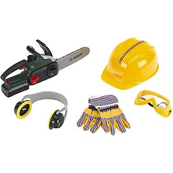 Theo Klein Bosch Chain Saw II with Accessories Including Helmet and Gloves For