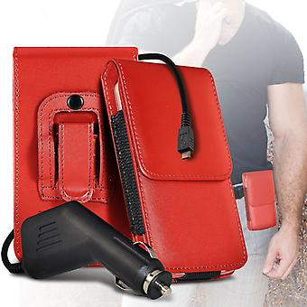 (Red) Case For Xiaomi Ulafone Metal PU Leather Belt Clip Pouch Holster + car charger Xiaomi Ulafone Metal Cover By i-Tronixs