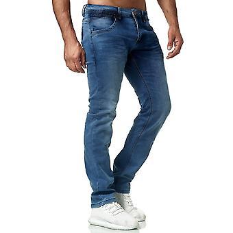 Herren Denim Jeans Klassische Regular Fit Hose Used Washed Look Normal Trousers