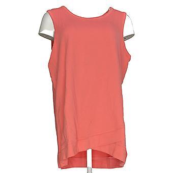 Denim & Co. Women's Top Active Scoop Neck Hi-Low Hem French Pink A304425