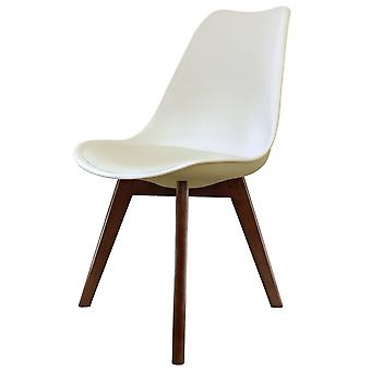 Fusion Living Eiffel Inspired Vanilla Plastic Dining Chair With Squared Dark Wood Legs