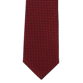 Michelsons of London Checkboard Semi Plain Skinny Polyester Tie - Red