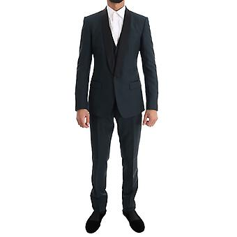 Dolce & Gabbana Blue Martini Wool Silk 3 Piece Suit KOS1080-4