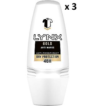 3 x Lynx Dry 48H Anti marques Anti-perspirant Roll On 50 ml - Or