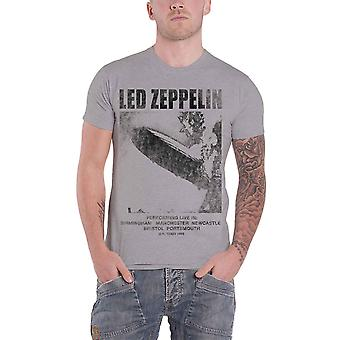 Led Zeppelin T Shirt UK Tour 1969 LZ1 Band Logo new Official Mens Ice Grey