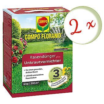 Sparset: 2 x COMPO Floranid® lawn fertilizer plus weed killer, 6 kg