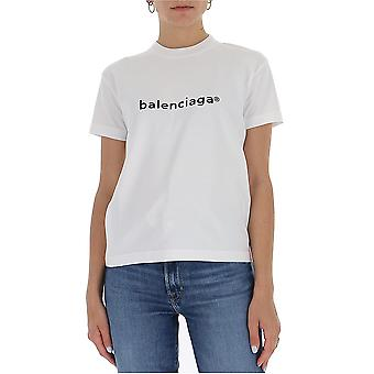 Balenciaga 612964tiv549040 Women's White Cotton T-shirt