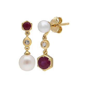 Moderne Perle, Rubin & Topas nicht übereinstimmende Tropfen Ohrringe in vergoldetem Sterling Silber 270E030102925