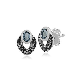 Art Deco Style Oval Blue Topaz & Marcasite Stud Earrings in 925 Sterling Silver 214E717806925