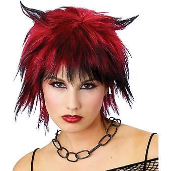 Pirullinen Shag peruukki musta/punainen Halloween