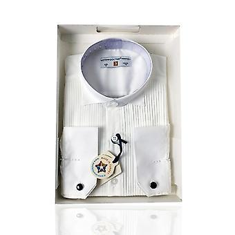 Boys Premium Wing Collar Pleated Cream Cufflink Shirt