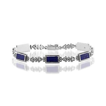 آرت ديكو نمط مستطيل لابيس Lazuli & مارساسيت سوار في 925 الاسترليني الفضة 214L013410925