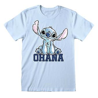 Men's Disney Lilo y Stitch Ohana Pastel camiseta azul