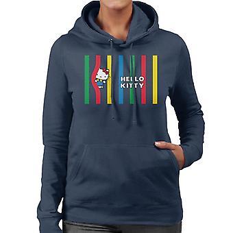 Hello Kitty Multicoloured Lines Women's Hooded Sweatshirt