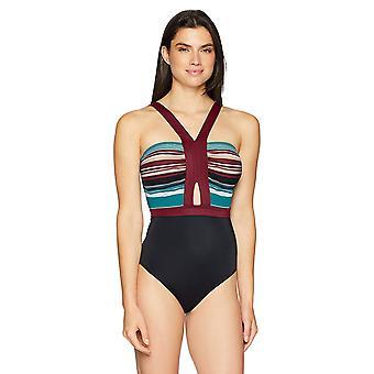Coastal Blue Women's One Piece Swimsuit, Jaded/Raisin Stripe/Ebony, L