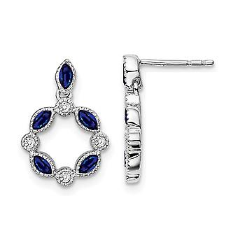 7/8 Carat (ctw) Blue Sapphire Earrings in 14K White Gold with Diamonds