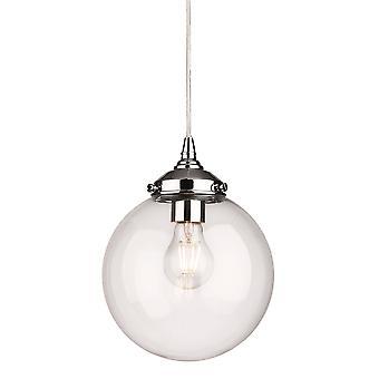 Firstlight Sevilla - 1 Lichte Globe Plafond hanger Chroom met helder glas, E27