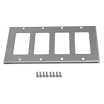 208 x 115mm Stainless Steel 4-Gang Socket Outlet Wallplate