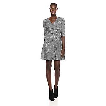 Lark & Ro Women's Three Quarter Sleeve Faux Wrap Fit and Flare Dress, Navy, M...