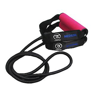 fitness mad medium resistance tube with pe bag pink fitness training band