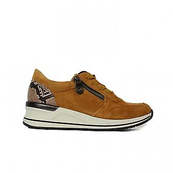 Remonte D3204-68 Mustard Nubuck Leather Womens Casual Trainers