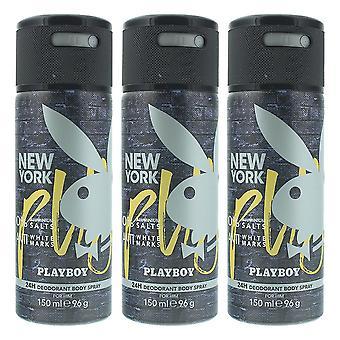 Playboy New York Deodorant Spray 150ml x 3