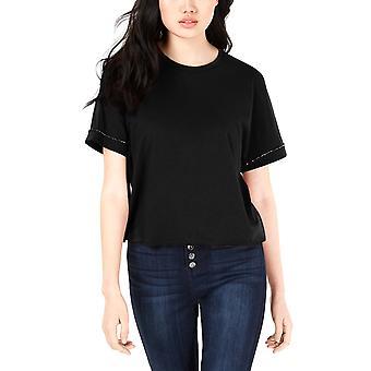Carbon Copy | Cropped Rhinestone-Embellished T-Shirt