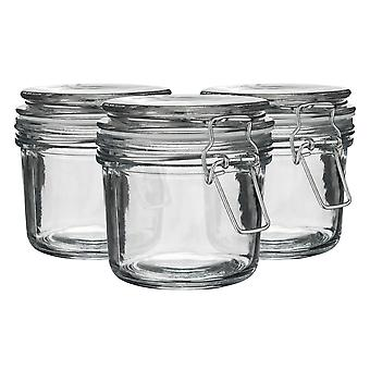 Argon Tableware Glass Storage Jars with Airtight Clip Lid - 350ml Set - White Seal - Pack of 3