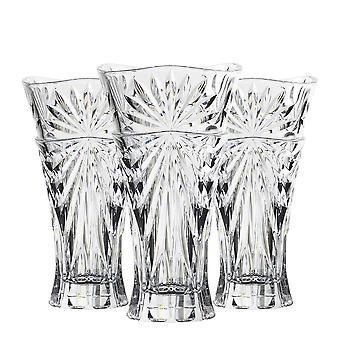 RCR Crystal 3 Piece Oasis Cut Glass Table Centrepiece Vase Set - 30cm Decorative Flower Vases