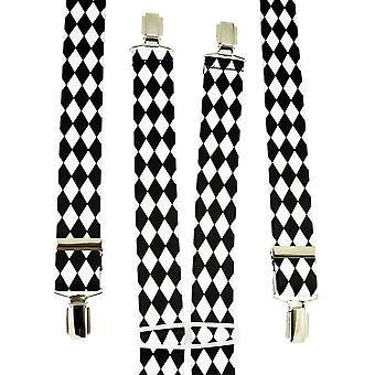 Ties Planet Black & White Diamond Checkerboard Men's Trouser Braces