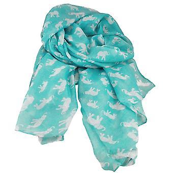 Ties Planet Elephant Animal Print Turquoise Lightweight Women's Shawl Scarf