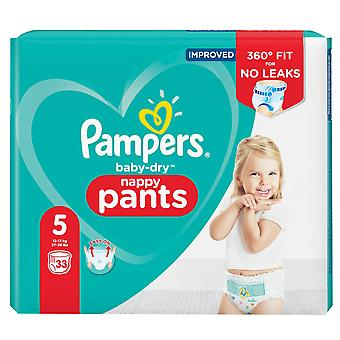 1 x 33 Baby Nappies Pants 12-17kg Pampers 12hrs Dry Pull On Diaper Size 5