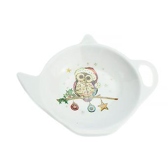 Christmas Owl Design Teabag Tidy