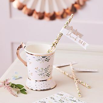 Floral 'Drink me' Paper Straws x 16 - Birthday Wedding Tea Party
