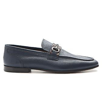 Marco Ferretti Moccastic In Blue Leather With Clamp