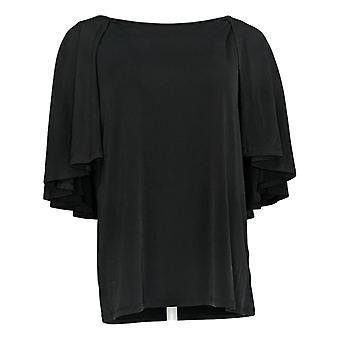 IMAN Global Chic Women's Top Cape-Sleeve W/ Keyhole Back Black 694-192