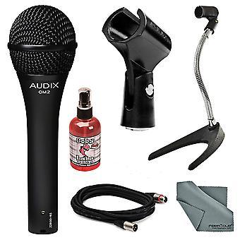 Audix om-2 handhållen dynamisk mikrofon bunt med mic stand + xlr kabel + mic sanitzer + fibertique rengöringsduk