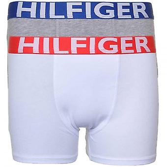 Tommy Hilfiger Boys 2 Pack Bold Boxer Trunk, White / Grey, X-Large