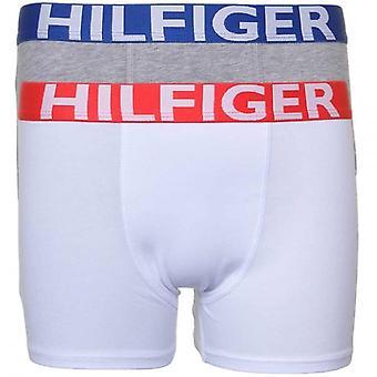 """Tommy Hilfiger garçons 2 Pack Trunk Boxer """"BOLD"""", blanc / gris, XL"""