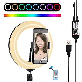 PULUZ 7.9 inch 20cm USB RGB Dimmable LED Dual Color Temperature LED Curved Light Ring Vlogging Selfie Photography Video Lights with Phone Clamp (Black