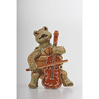 Turtle Playing The Cello Trinket Box