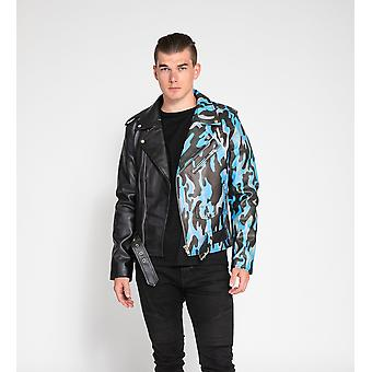 Men's Gamer Camo Print Faux Leather Jacket