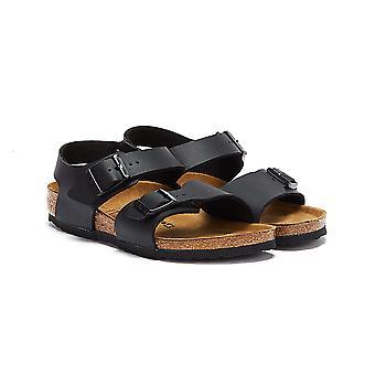 Birkenstock Nowy Jork Birko Flor Nubuck Dzieci Czarne sandały