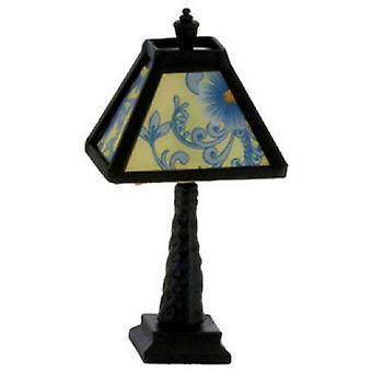 Dolls House Black Table Lampa Niebieski wzorzysty odcień 12v Oświetlenie elektryczne