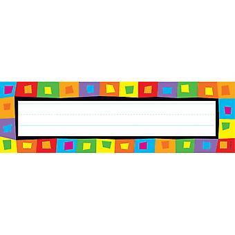 Silly Squares Desk Toppers Nombre Placas, 36 Ct