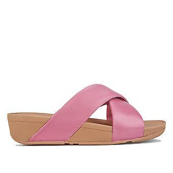 Kvinnor & apos; s Fit Flop Lulu Läder Cross Slide Sandaler i rosa