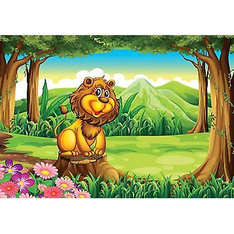 Tapete Wandbild mit einem großen braunen Bären über dem Stump (26335572)