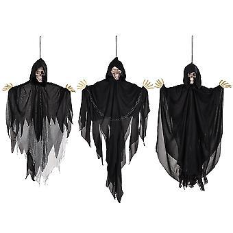 Yescom 3pcs Animated Hanging Skeleton Ghost Lit Eyes Haunted House Halloween Decoration