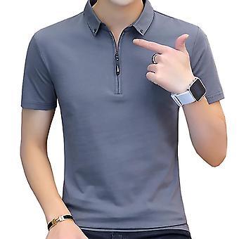 Summer Casual Polo Shirt, Men Short Sleeve, Turn Down Collar, Slim Fit